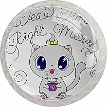 Cute Cartoon Cat with Cup Set of 4 Drawer Knobs