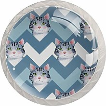 Cute cat 4 Pack Round ABS Drawer Knob, Unfinished