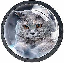 Cute Cat Crystal Drawer Handles Furniture Glass