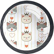 Cute Cat with Crown Set of 4 Dresser Round Knobs -