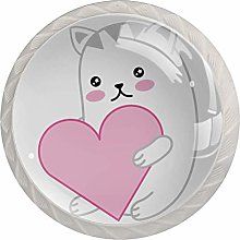 Cute Cat with Heart Set of 4 Drawer Knobs Pulls