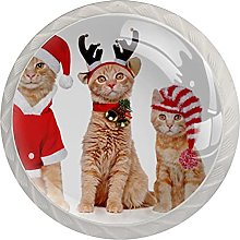 Cute Christmas Cats Set of 4 Glass Knobs for