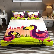 Cute Dodo Duck Mom And Baby 3pcs Duvet Cover Set