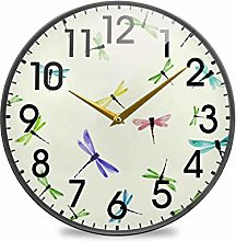 Cute Dragonfly Japanese WatercolorRound Wall Clock