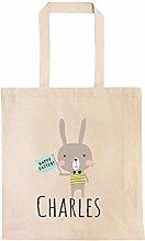 Cute Easter Bunny Personalized Egg Hunt Bag Custom