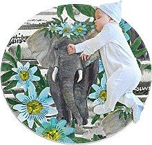 Cute elephant, Kids Round Rug Polyester Throw Area