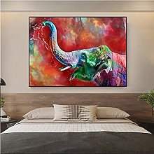 Cute Elephant Oil Painting Canvas print Wall Art