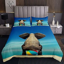 Cute Elephant Quilted Coverlet 3D Wild Animal