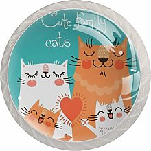 Cute Family Cats Pattern Drawer Knobs Pulls