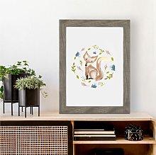 Cute Floral Fox Wall Art Print | Gift for Friends