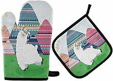 Cute Funny Cartoon Alpaca Oven Mitts Pot Holders