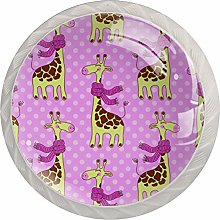 Cute Giraffes with Scarves 4 Pack Round Glass