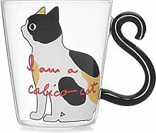Cute Kitty Glass Water Cup Cat Tail Handle Mug