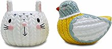 Cute Large Knit Effect Animal Egg Cup Set - Rabbit