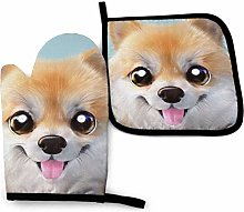 Cute Little Pomeranian Oven Mitts and Pot