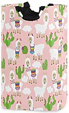 Cute Llama Cactus Large Laundry Basket Pink Animal