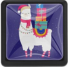 Cute Llama with Gift Winter Illustration Square