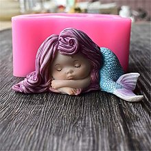 Cute Mermaid Girl Silicone Fondant Cake Molds