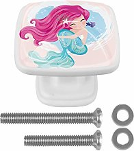 Cute Mermaid with Little Fish Drawer Knob for Home
