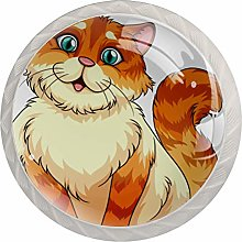 Cute Orange Cat Kitty Cabinet Knobs Knobs for