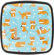 Cute Orange Cat Square Cabinet Knobs 4pcs Knobs
