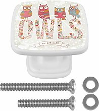 Cute Owls 4PCS Drawer Knobs Square Crystal Glass