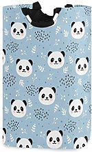 Cute Panda Blue Laundry Hamper Basket Bucket