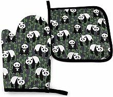 Cute Pandas Oven Mitts & Pot Holders Set Kitchen