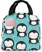 Cute Penguin Cooler Lunch Bag Office Work Picnic