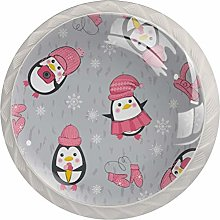 Cute Pink Penguins Drawer Knobs Pulls Cabinet