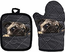 Cute Pug Oven Mitts - Heat Resistant Handle Hot