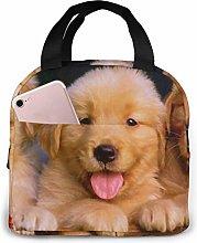 Cute Puppy Golden Retriever Lunch Bags Insulated