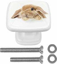 Cute Rabbit 4PCS Drawer Knobs Square Crystal Glass