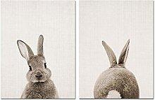 Cute Rabbit Butt Tail Canvas Art Poster Woodland