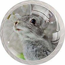 Cute Rabbit Gray White Drawer Handles Furniture