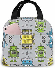 Cute Robots On Gray Insulated Lunch Bag Lunch Box