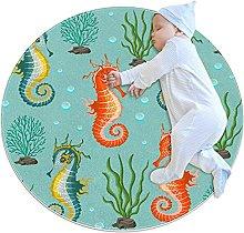 Cute seahorse, Kids Nursery Rug Play Mat Round