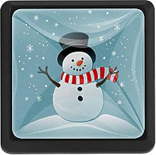 Cute Snowman and Snowflakes Square Cabinet Knobs