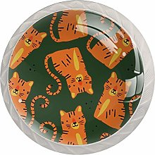 Cute Tiger Pattern Glass Cabinet Knobs Knobs for