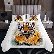 Cute Tiger Quilted Bedspread Coverlet Wild Animal