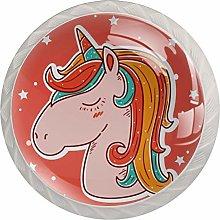 Cute Unicorn Red White Crystal Drawer Handles