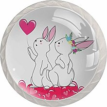 Cute White Romantic Bunny with Heart Set of 4
