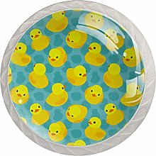 Cute Yellow Duck White Crystal Drawer Handles
