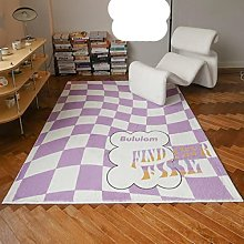 Cutelife Asthetic Fluffy Green Lattice Carpet