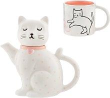 Cutie Cat 2 Piece Porcelain China Tea Set Sass and