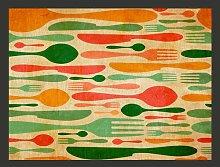 Cutlery Orange and Green 1.54m x 200cm Wallpaper