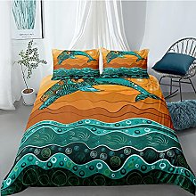 CUUGF 3D Bed Set Green Animal Fish With Duvet