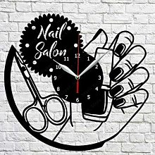 CVG Nail Salon Vinyl Record Wall Clock Art Decor