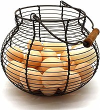 CVHOMEDECO. Antique Wire Egg Basket with Wood