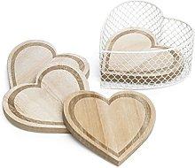 CVHOMEDECO. Engraving Heart Shape Wooden Coasters
